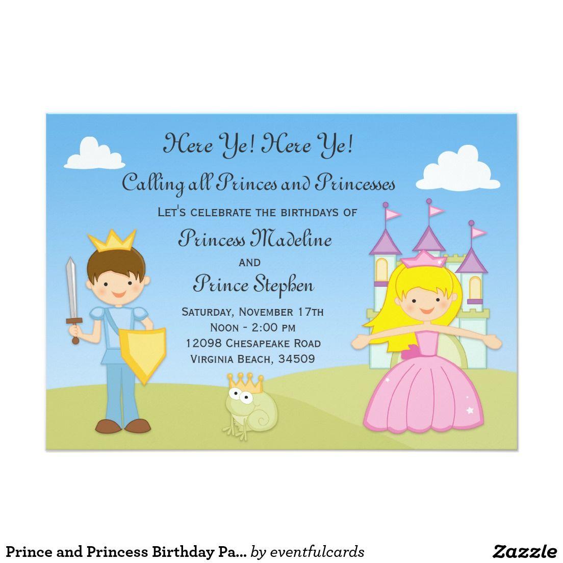 Prince and Princess Birthday Party Invitation | Princess birthday ...