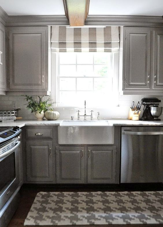 striped shades in grey and white allow light in | TH Kitchen ...