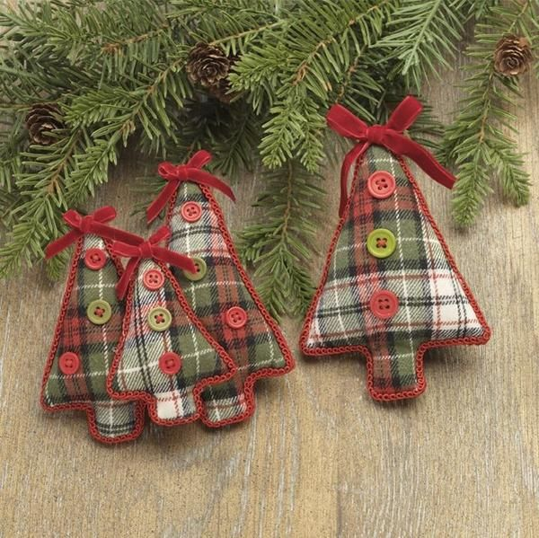 Christmas Cabin Plaid Tree Holiday Ornament 5-1/2-in #feltchristmasornaments