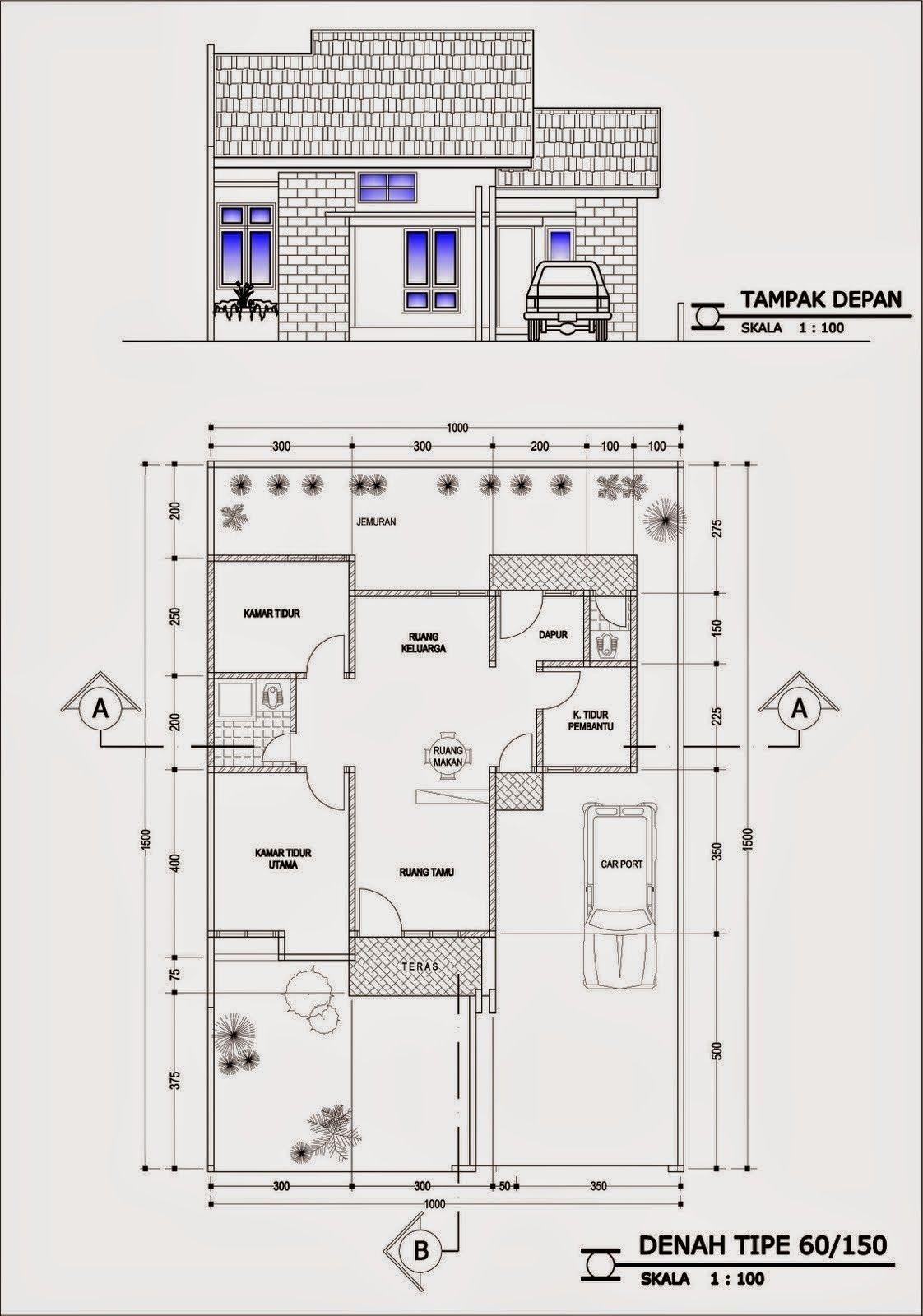 Inilah Gambar Denah Desain Rumah Minimalis Dengan 4 Kamar