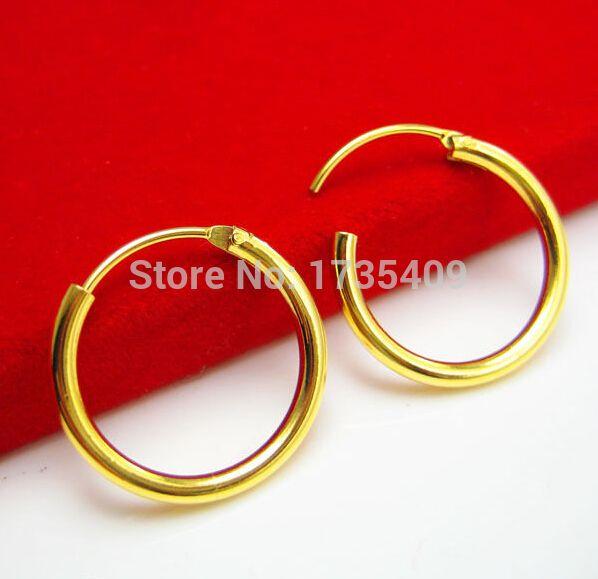 Solid 999 24k Yellow Gold Earrings Women S Little Circle Hoop