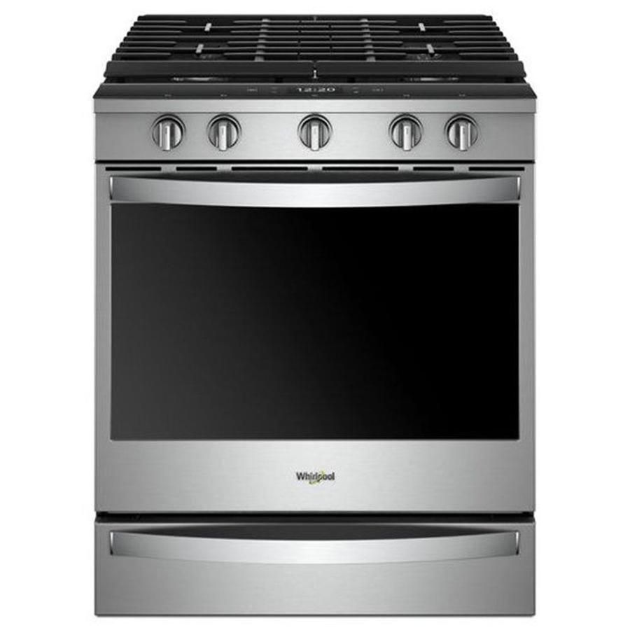Whirlpool 5 Burner 5 8 Cu Ft Self Cleaning Slide In Convection Gas Range Stainless Steel Common 30 Inch Act Slide In Range Convection Range Electric Range
