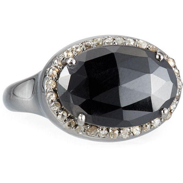 Bavna Round Black Spinel & Diamond Ring 1W0mjxC0WV