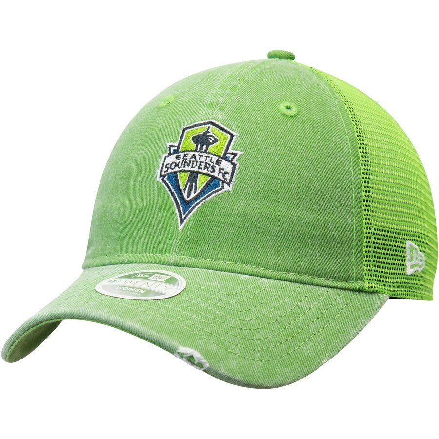wholesale dealer 83790 1481e Women s Seattle Sounders FC New Era Rave Green Tonal Washed Trucker 2  Primary Logo 9TWENTY Snapback Hat, Your Price   24.99