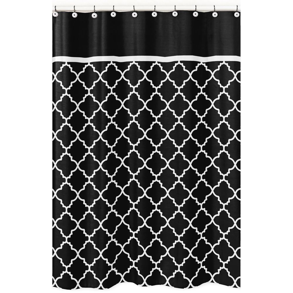 Sweet Jojo Designs Black White Trellis Shower Curtain
