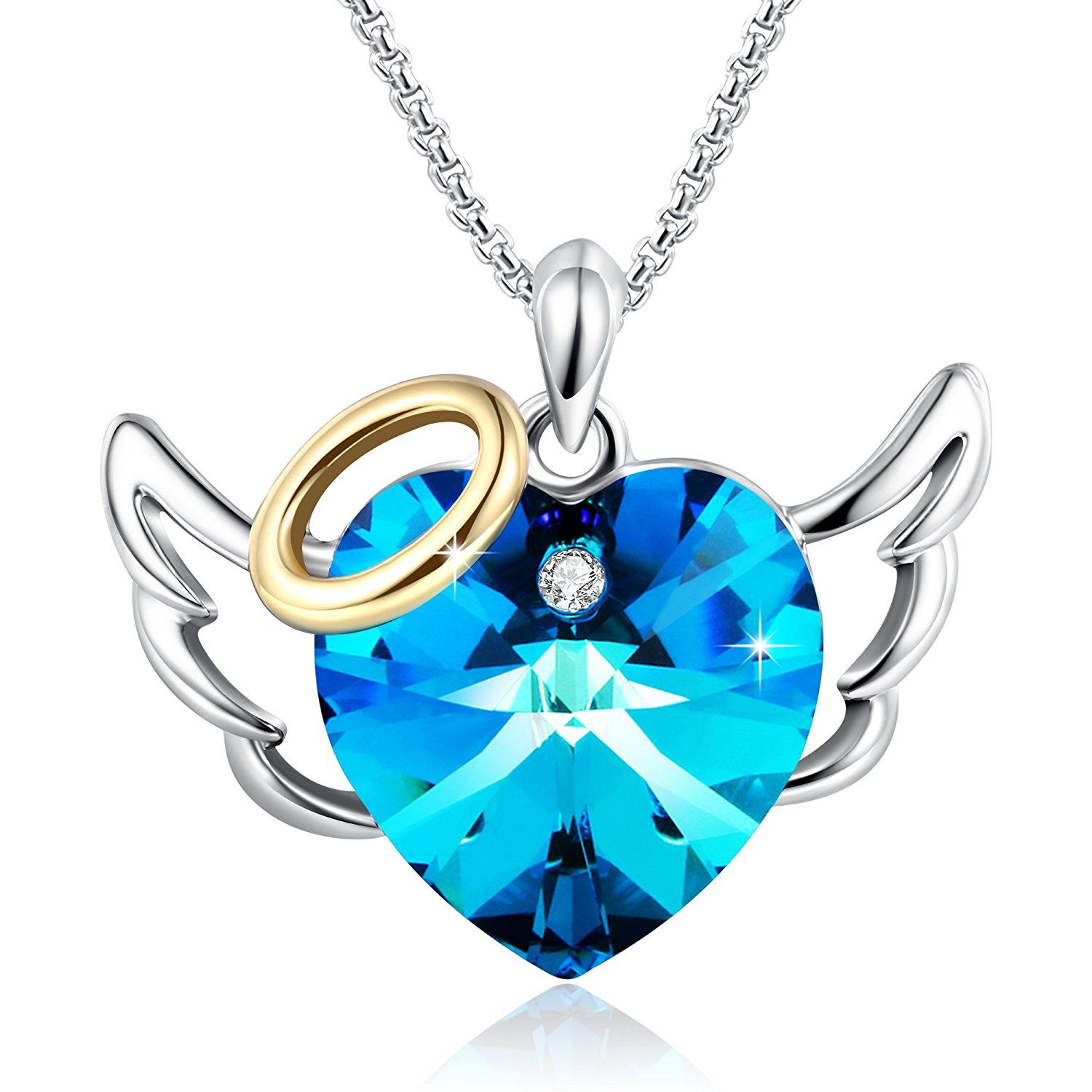 Christmas GiftsLove Angel Heart Pendant Necklace Birthday Jewelry For Girlfriend Daughter Wife Blue Crystals From Swarovski Click Image More