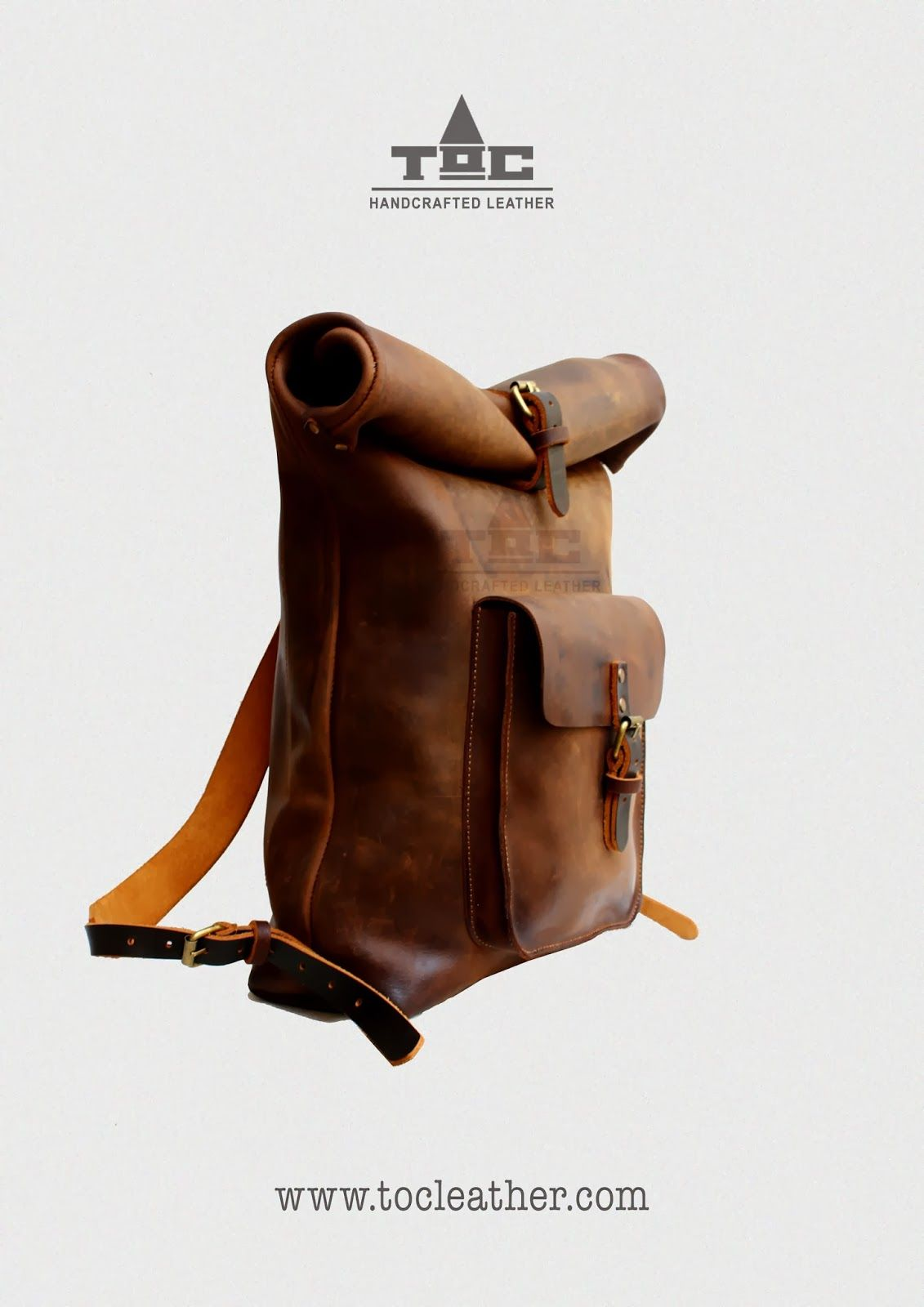 Tộc | Leather: Leather Roll Top Backpack / Rucksack (Light Brown ...