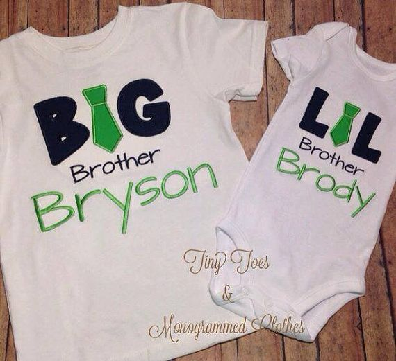 Big Brother Little Brother Appliqued Shirt Big Brother Little Brother Big Brother Brother Shirts