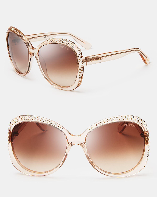65b00ca1baa Jimmy Choo Lu Crystal Oversized Sunglasses in Beige (Nude)  JimmyChoo