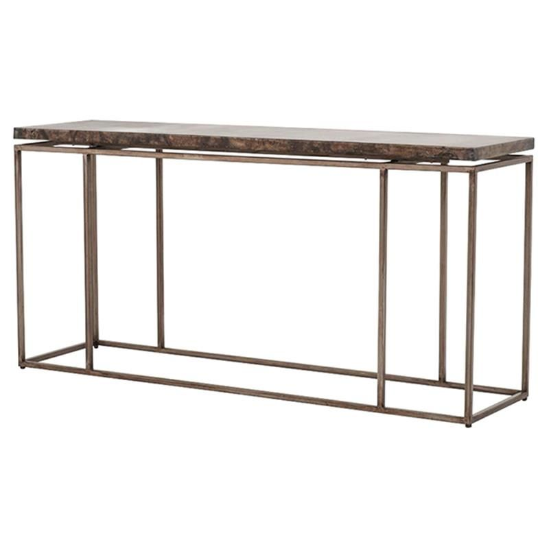 rollins industrial loft bronze iron console table | industrial