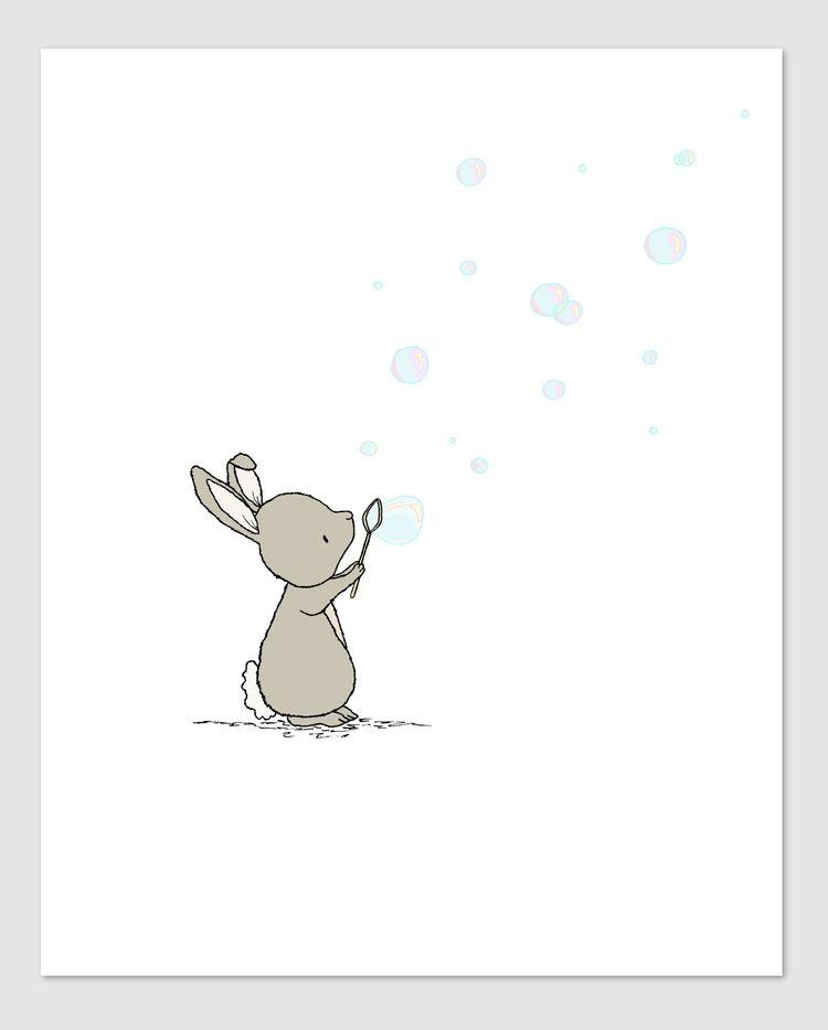 Woodland Nursery Art - Bunny Bubbles