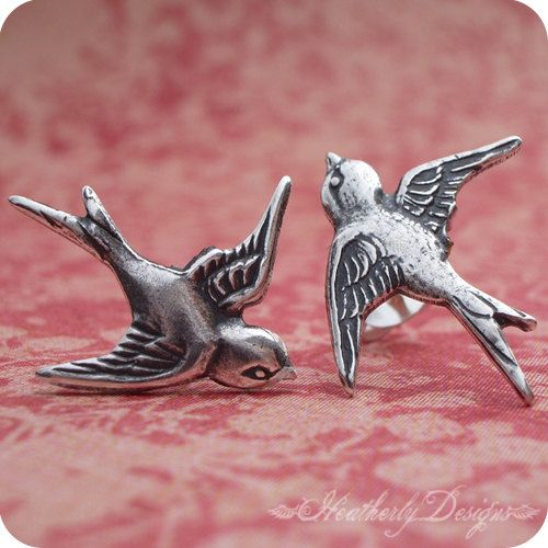 Swooping Swallows: antiqued sterling plated swallow on .925 sterling silver post earrings
