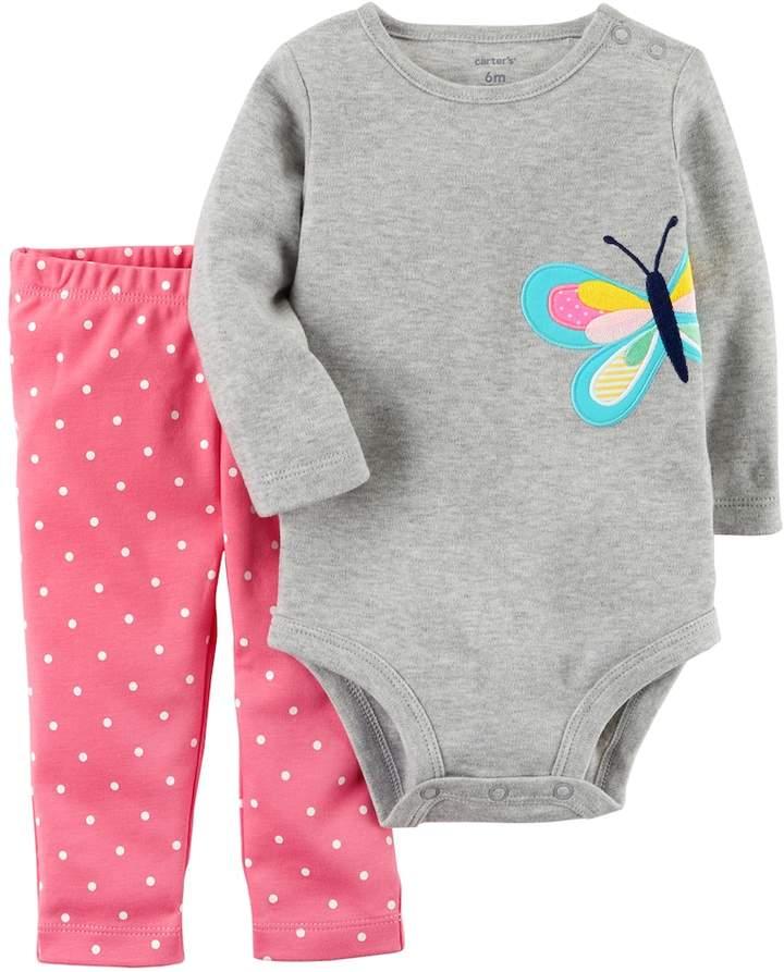 b4ea8dc71 Baby Girl Carter's Butterfly Bodysuit & Polka-Dot Leggings Set ...