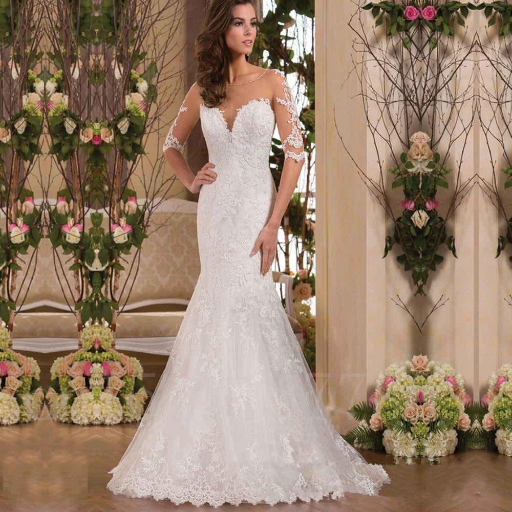 Vintage lace wedding dress newest robe de mariage appliques