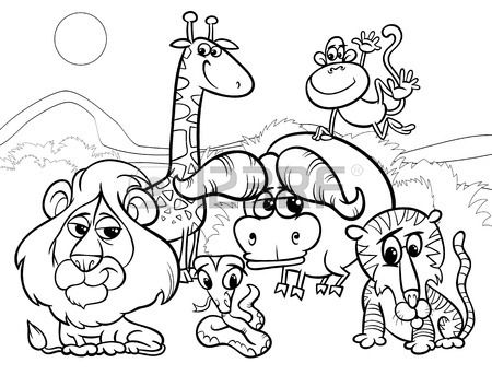 Black And White Cartoon Illustration Of Scene With Wild African Animal Coloring Books Animal Coloring Pages Cartoon Coloring Pages