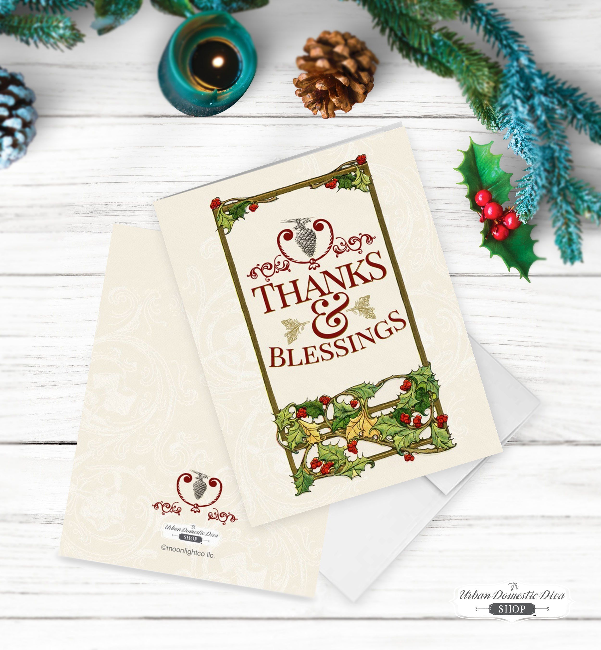 Vintage Christmas Blank Thank You Cards Set Of 5 Urban Domestic