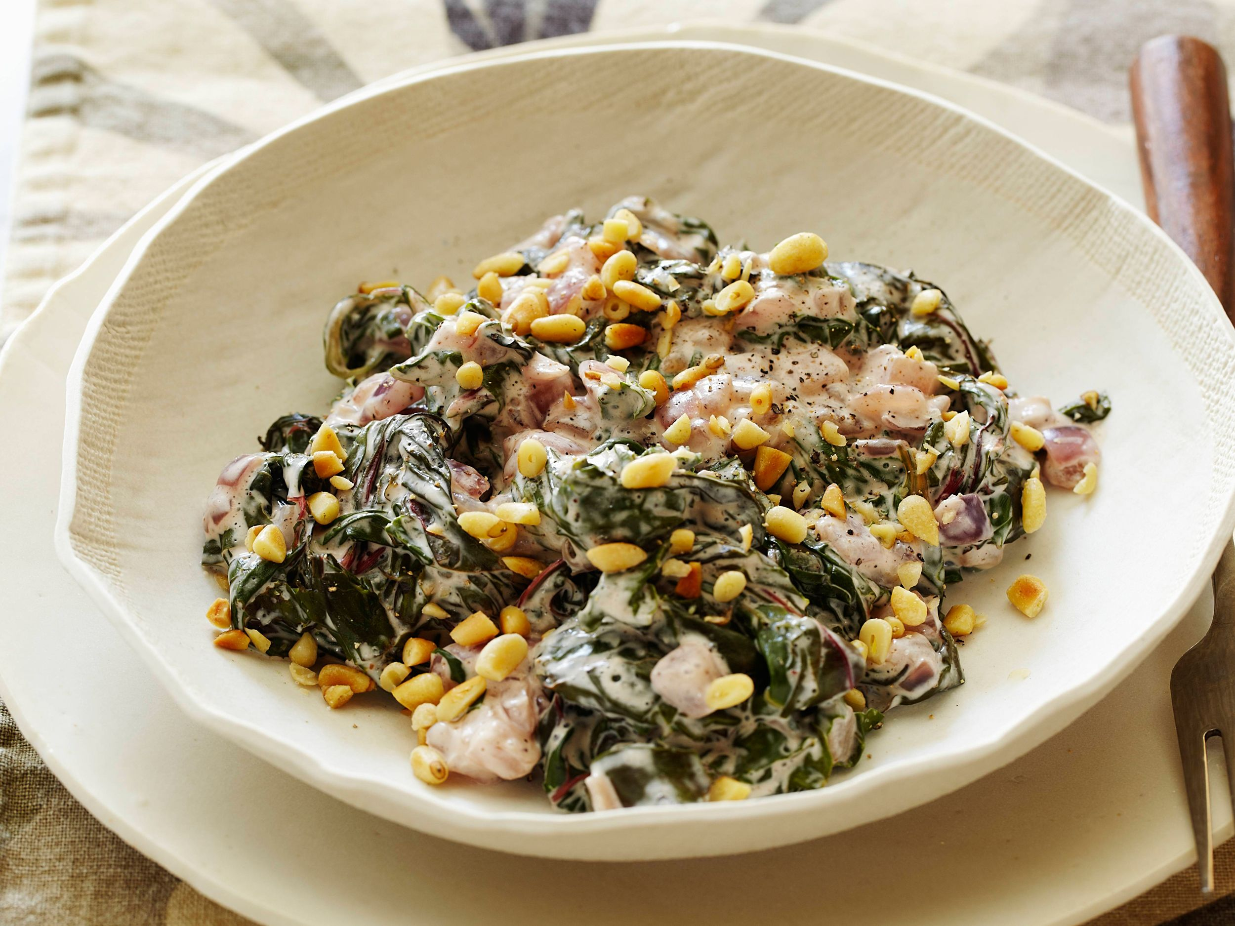 Healthy creamed swiss chard with pine nuts recipe nut recipes food forumfinder Image collections