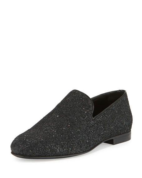 d33b60aa5f30 JIMMY CHOO Sloane Men'S Coarse Glitter Slipper, Black. #jimmychoo #shoes #