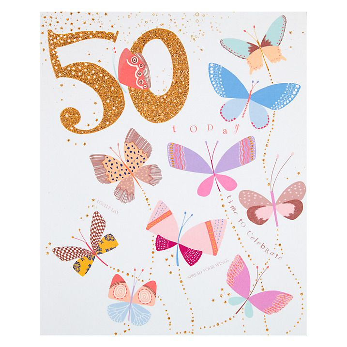 Buy Woodmansterne Celebration Butterflies 50th Birthday Card Online At Johnlewis