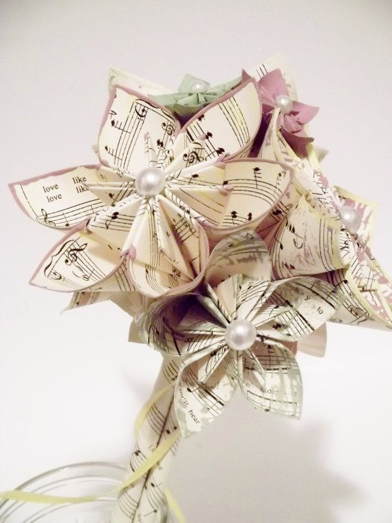Sheet Music Wedding Bouquet 10 Paper Flowers 7 Inch Made To