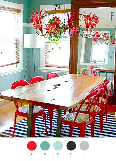 love the teal & red color palette.  If it were my house, the table would be covered with papers.