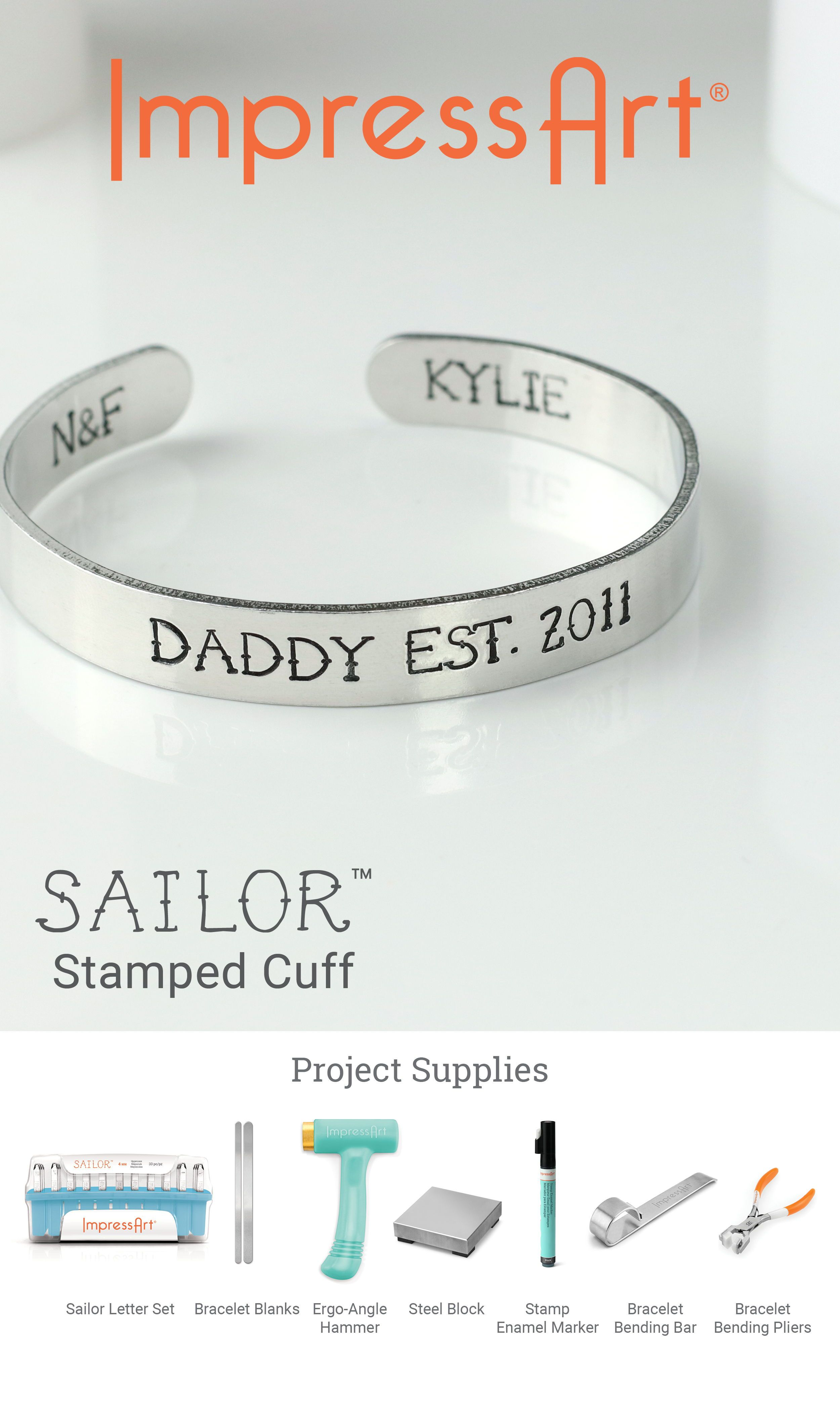 Sailor Metal Stamp Font Makes For Great Diy Bracelets And Other Creative Jewelry Stamping Ideas Jewelrymak Metal Stamped Jewelry Metal Stamping Diy Bracelets