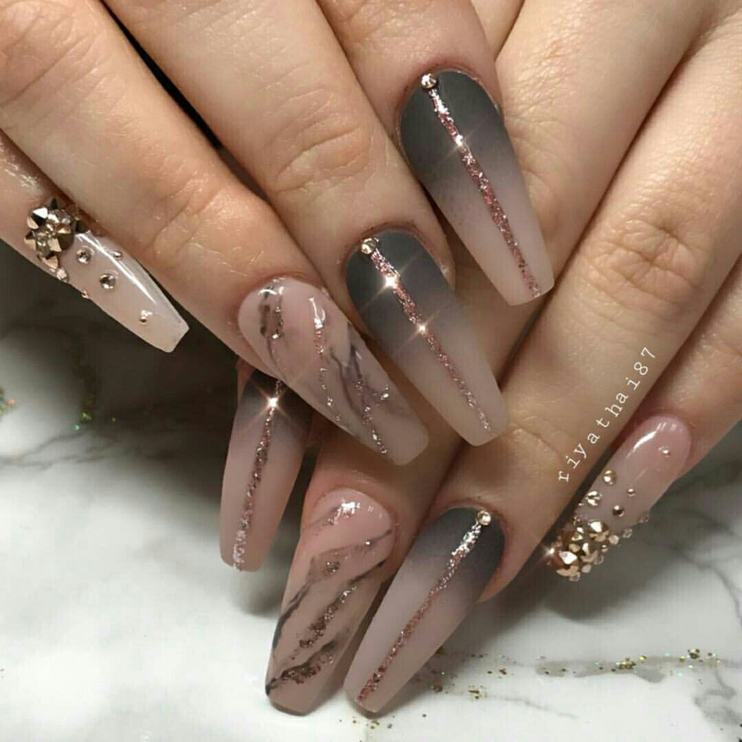 Rose Gold Marble Nails Acrylic