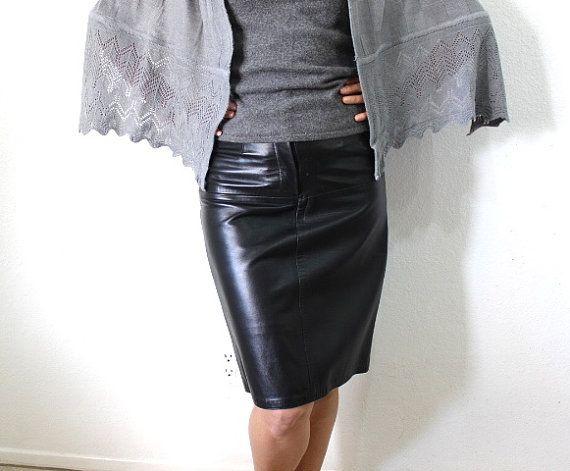 d6b751a02 Black Leather Mini Skirt Pencil Skirt Vintage 80s Emphasis Bullocks Size S
