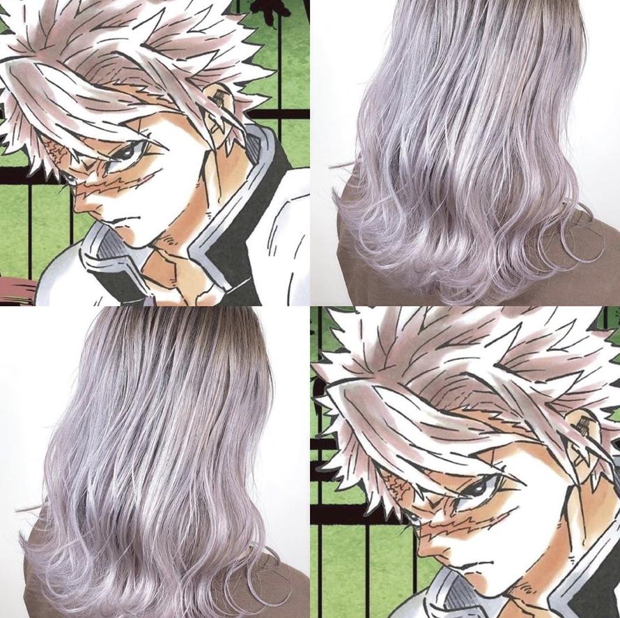髪型 髪色 派手髪 コスプレ cosplay透明感 グラデーションカラー インナーカラー ハイライトカラー ベージュ グレージュ アニメ anime キャラクター シルバー ラベンダー ハイライトカラー 冬 髪型 毛髪染料