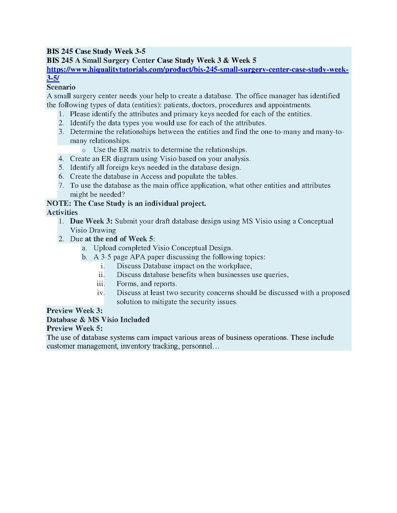 BIS 245 Small Surgery Center Case Study Week 35 Surgery