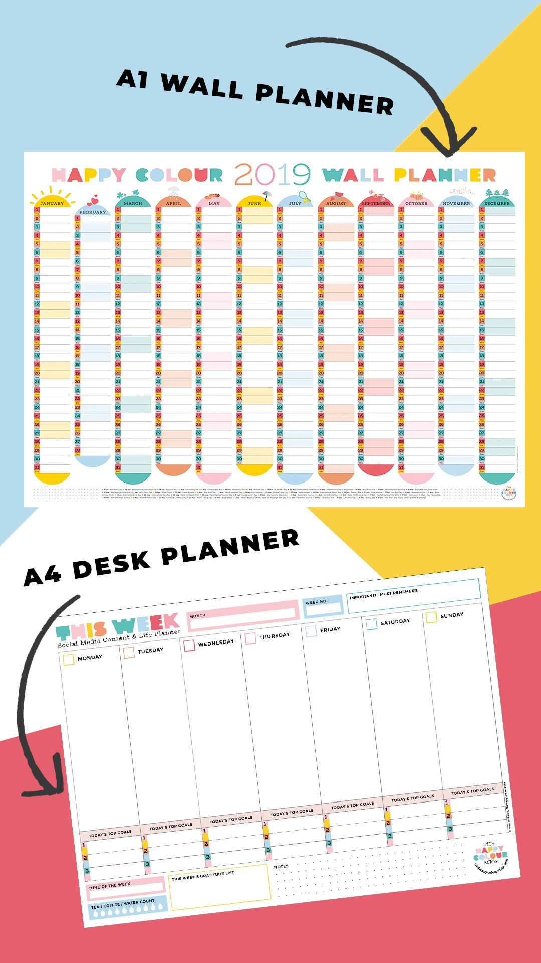 2019 Colourful Wall Planner And Paper Stationery To Brighten Up Your