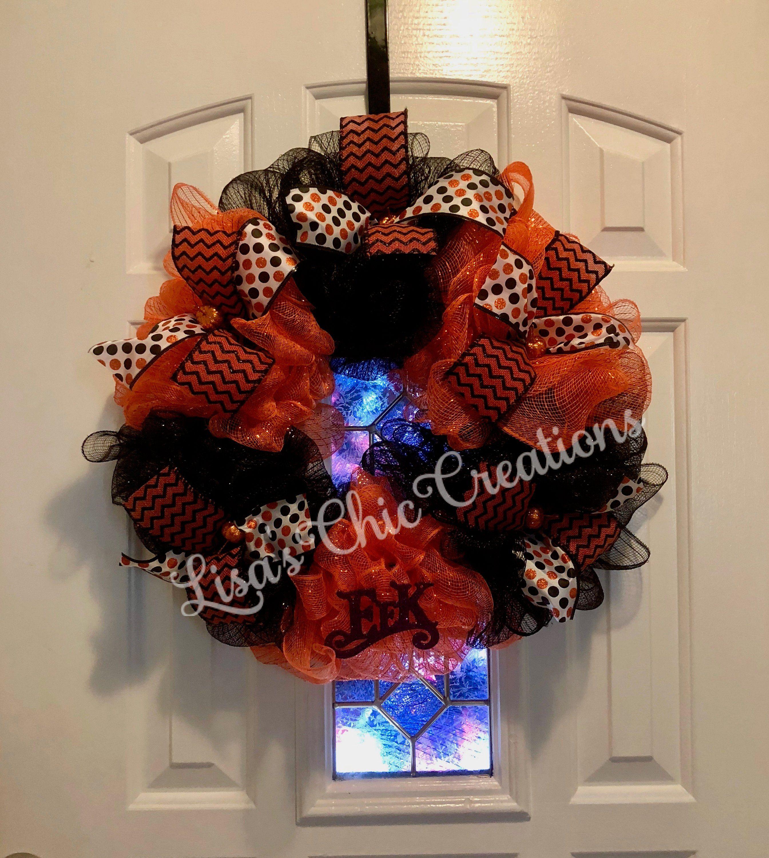 Halloween DIY Deco Mesh Wreath Kit 10 Mesh and 2.5 Wired Edge Ribbon