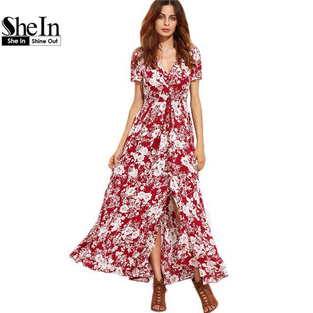 0c5176825606b5 Shein vrouw mode 2017 zomer boho jurken voor vrouw bourgondië V-hals Korte  Mouw Bloemen Zelf Tie Fringe Split Maxi dress