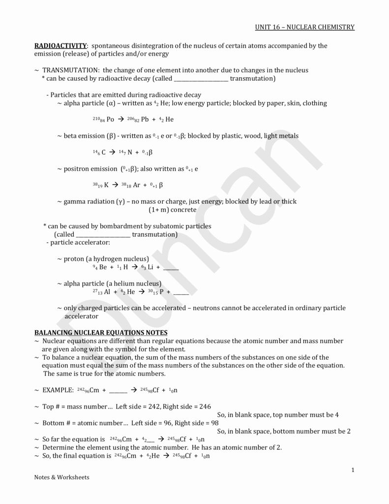 Nuclear Chemistry Worksheet Answer Key New Worksheet