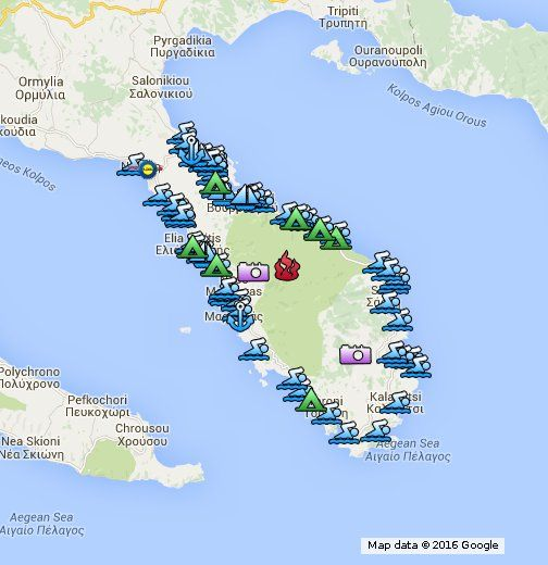 Harta Sithonia Plaje Locuri De Vizitat Beaches Most Important