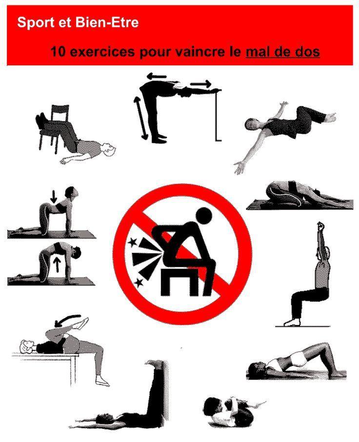 10 exercices pour vaincre le mal de dos workout pinterest les maux de dos exercices et. Black Bedroom Furniture Sets. Home Design Ideas