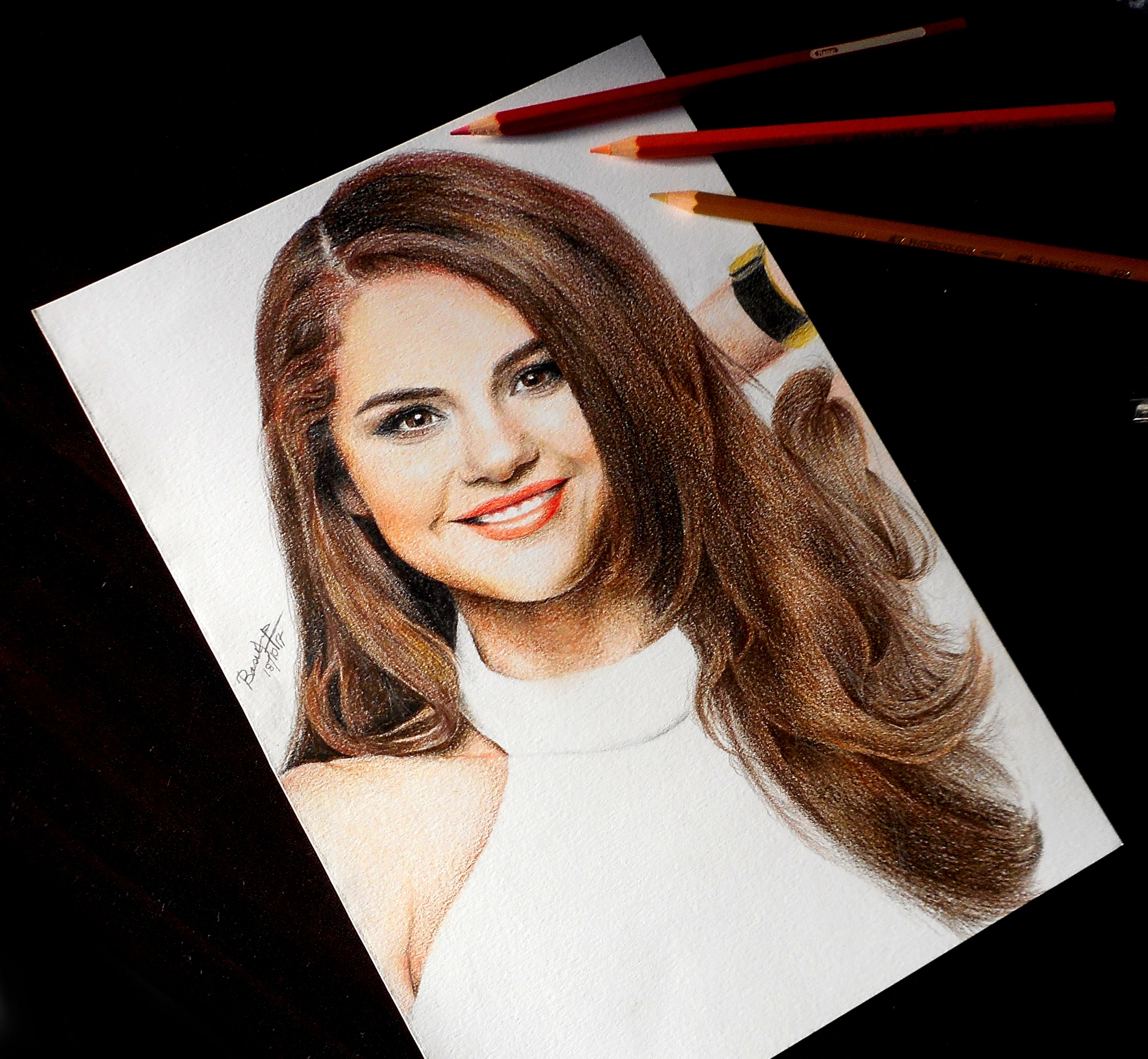 Colored Pencil Drawing of Selena Gomez by Basudha Roy ...