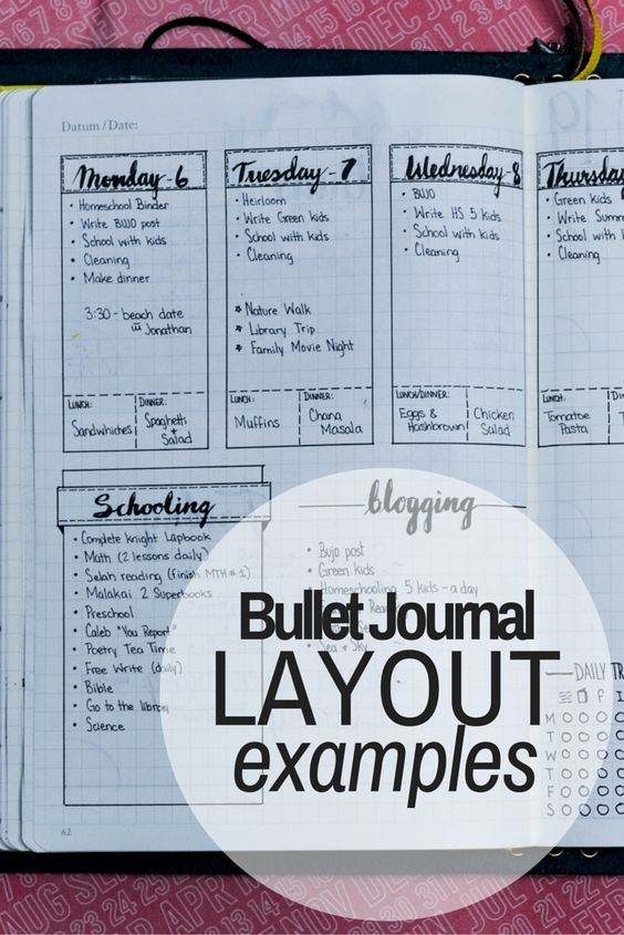 daily  weekly  and monthly bullet journal layout examples