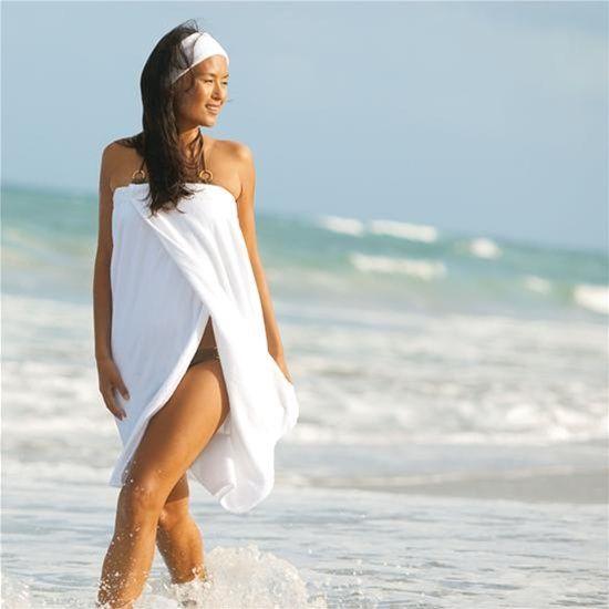 Spa Wrap - Velour - Woman's with Snaps - 100% Cotton White (WR2032C), $17.10