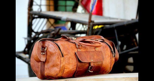 Leather Goat Luggage Men Travel Gym Hobo Duffle Brown Genuine Vintage Bags Bag