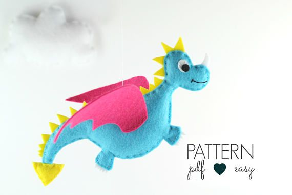 Felt Dragon Pattern | Dragon Plush Pattern | Dragon Toy | Dragon SVG Pattern | Dragon Baby Mobile | Dragon Christmas Ornament #feltdragon