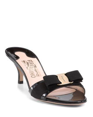 Salvatore Ferragamo Glory Open Toe Slide Kitten Heel Sandals Salvatoreferragamo Shoes Kitten Heel Sandals Sandals Heels Kitten Heels