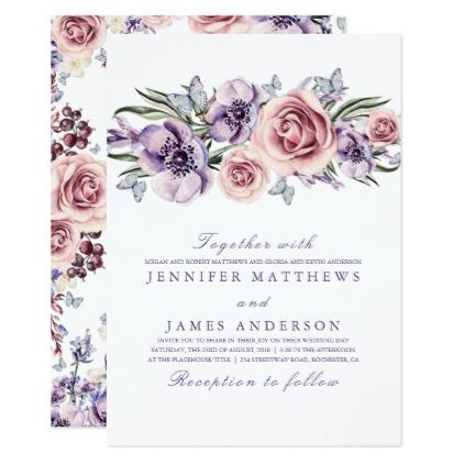 Elegant floral purple watercolors wedding card wedding elegant floral purple watercolors wedding card wedding invitations cards custom invitation card design marriage stopboris Choice Image