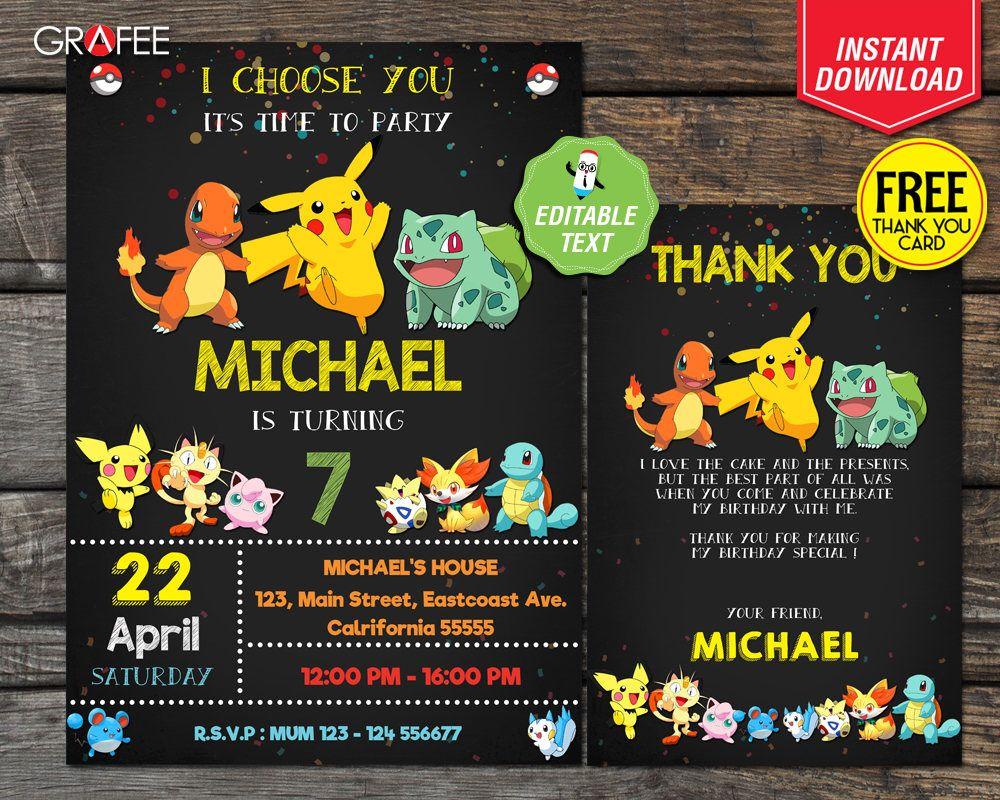 Pokemon Invitation 5x7 Editable Text Pokemon Birthday Pokemon Party Pokemon Go Pikachu Printable Cust Pokemon Invitations Pokemon Birthday Pokemon Party