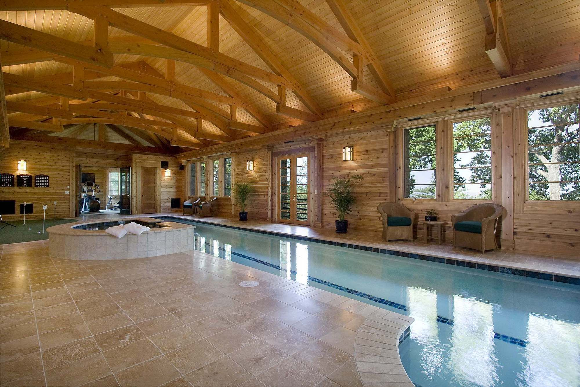 Wood ceilings marker construction - See All Photos In Project Marker Pool House Contractor Bluestone Construction
