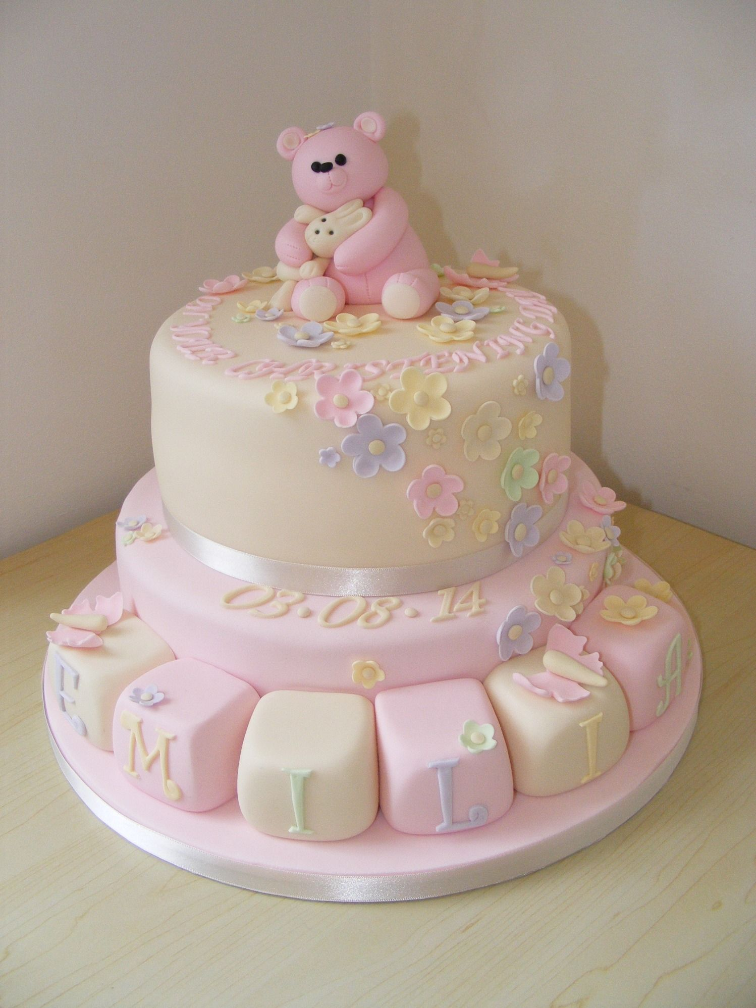 Christening Cake Design For Baby Girl : Girls 2 Tier Christening Cake Christening Ideas ...