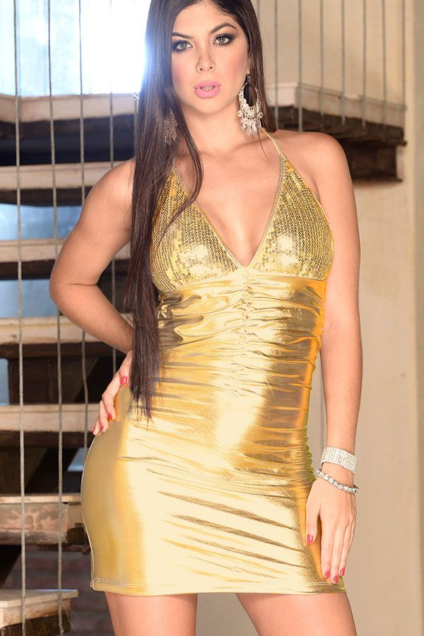 85376b9deee3 Sexy micro mini dress metallic gold club wear dresses ruched with plunging  v front halterneck ties sequin detailing Avaliable in sizes - medium
