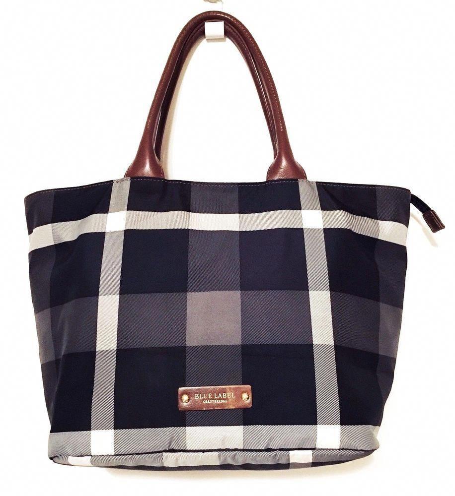 999fabe0a08 BURBERRY BLUE LABEL CRESTBRIDGE Black/Grey Check Tote Handbag Carryall  #Burberryhandbags
