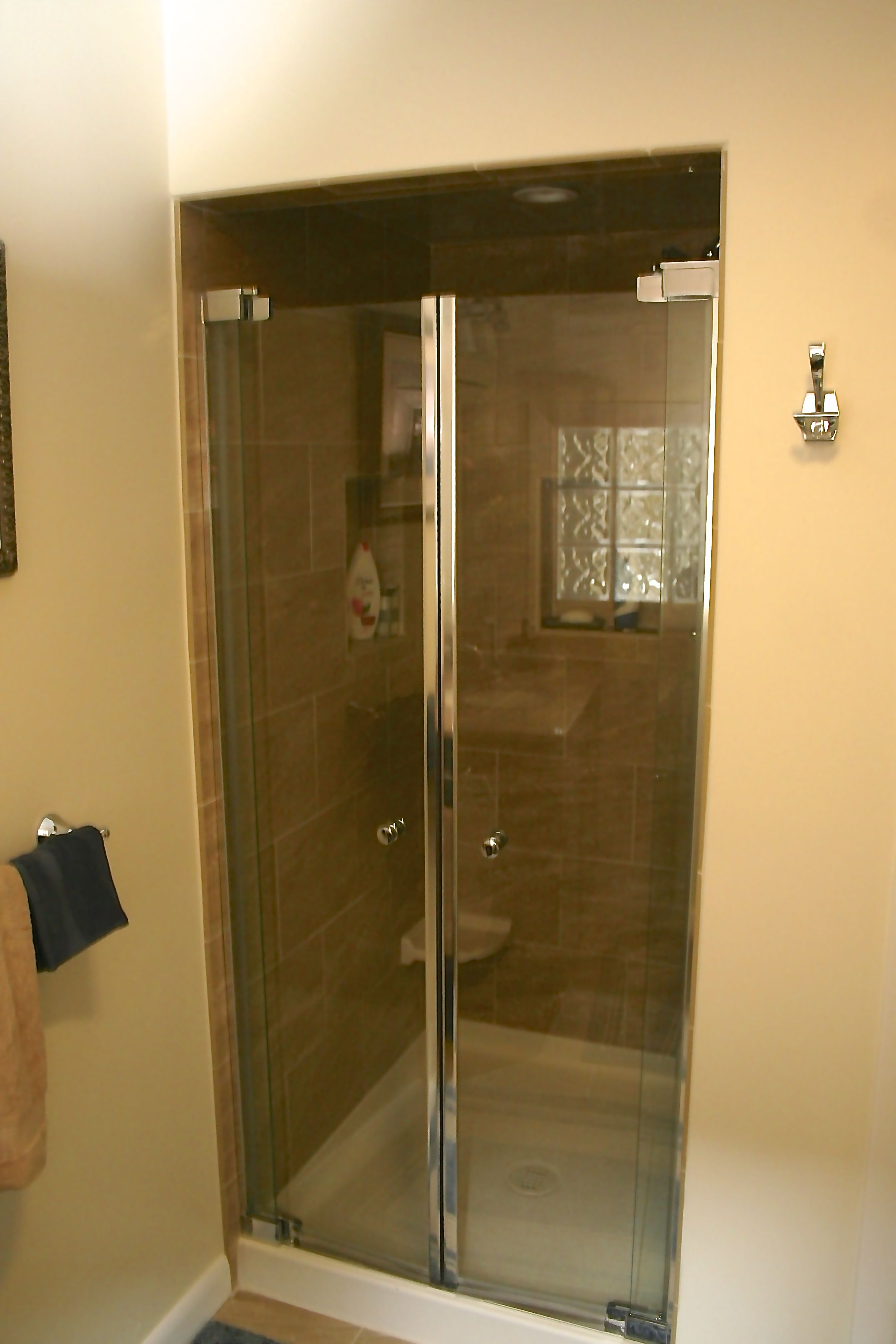 Maax Kleara single panel shower door in chrome, Florentine Porcelain ...