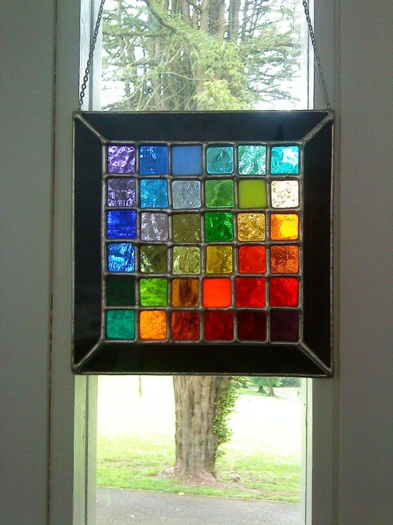 Pixel Panel! Marvellous Multi-Coloured Stained Glass Suncatcher - pewtermoonsilver #setinstains
